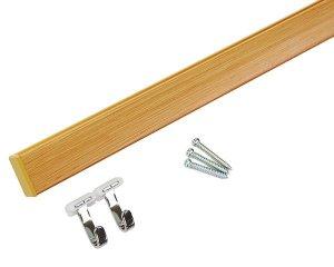 画像1: 壁付フックレール セット 長さ1000mm 木目調 角型