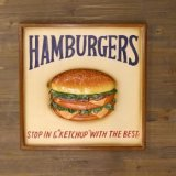 ハンバーガー アンティークボード 立体ボード