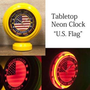 画像1: テーブルトップ ネオンクロック USフラッグ