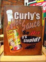 ブリキ看板  Curly's hot sauce/辛口ソース