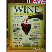 詳細写真1: ブリキ看板 世界中のワイン WINE
