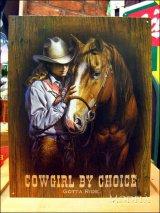 ブリキ看板 Cowgirl by choice