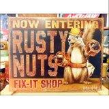 ブリキ看板 錆びたナット Rusty Nuts