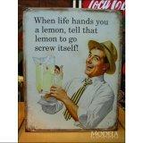 ブリキ看板 レモンを貰ったらレモンジュース