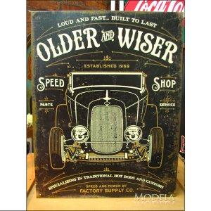 画像1: ブリキ看板 OLDER AND WISER より古くより賢く