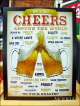ブリキ看板 ビール世界の乾杯