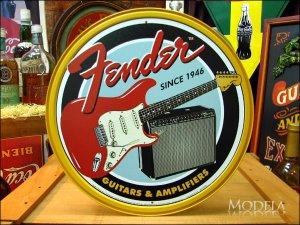 画像1: ブリキ看板 フェンダー ギターとアンプ