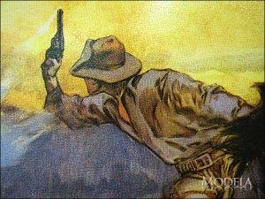 画像3: ブリキ看板 スミス&ウェッソン 馬上の銃撃戦