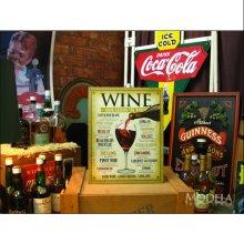 詳細写真2: ブリキ看板 世界中のワイン WINE