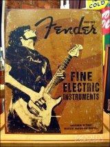 ブリキ看板 フェンダー ギター ロック奏者