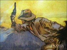 詳細写真3: ブリキ看板 スミス&ウェッソン 馬上の銃撃戦