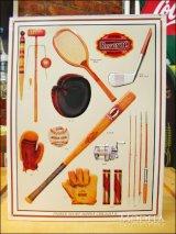 ブリキ看板 クラシックなスポーツ用品