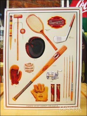 画像1: ブリキ看板 クラシックなスポーツ用品
