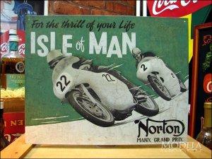 画像1: ブリキ看板 ノートン 男の島