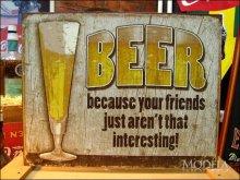 詳細写真1: ブリキ看板  ビール あなたの友達