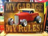 ブリキ看板 私のガレージ ホットロッド