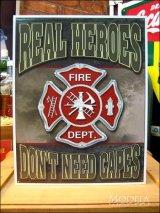 ブリキ看板 リアルヒーロー 消防士