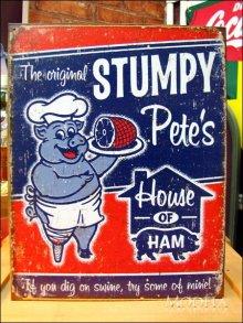 詳細写真1: ブリキ看板 ハム Stumpy Pete's Ham