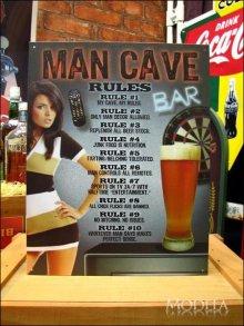 詳細写真3: ブリキ看板 男の洞窟での十カ条