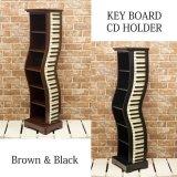 ピアノ鍵盤モチーフ cdホルダー ブラック