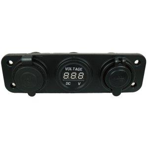 画像1: 3 in 1 車用増設ソケット 充電器 2ポートUSB/電圧計/電源ソケット 12V 2.1A 3連 埋め込みタイプ