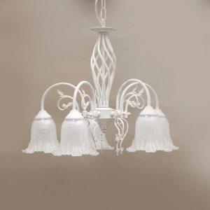 画像1: クラシカルシャンデリア 5灯 イザベラ ホワイトブラッシュゴールド LED対応