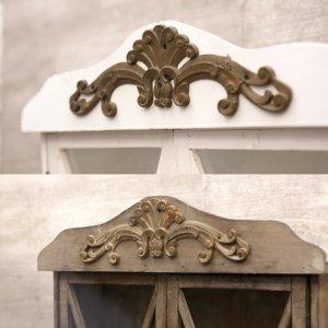 画像3: アンティーク調 バロックウッド ガラスシェルフ ホワイト