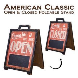 画像1: アメリカン・クラシック フォルダブルスタンド【OPEN&CLOSED】 両面タイプ